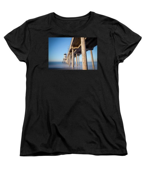 Women's T-Shirt (Standard Cut) featuring the photograph Sunrise At Huntington Beach Pier by Sean Foster