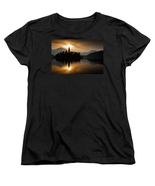 Sunrise At Lake Bled Women's T-Shirt (Standard Cut) by Ian Middleton