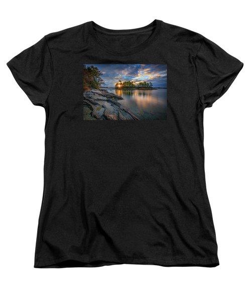 Women's T-Shirt (Standard Cut) featuring the photograph Sunrise At Wolfe's Neck Woods by Rick Berk