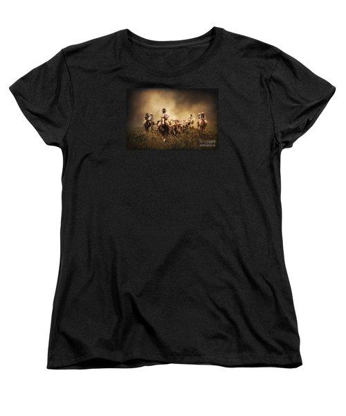 Sunrise Cattle Drive Women's T-Shirt (Standard Cut) by Priscilla Burgers
