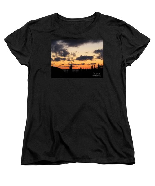 Sunset And Dark Clouds Women's T-Shirt (Standard Cut) by Barbara Griffin