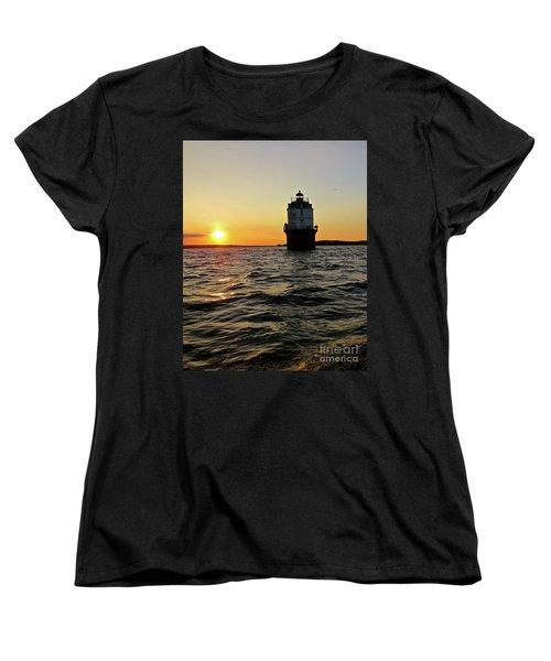 Women's T-Shirt (Standard Cut) featuring the photograph Sunset At Baltimore Light  by Nancy Patterson
