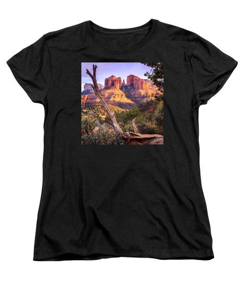Sunset At Cathedral Rock Women's T-Shirt (Standard Cut) by Alexey Stiop