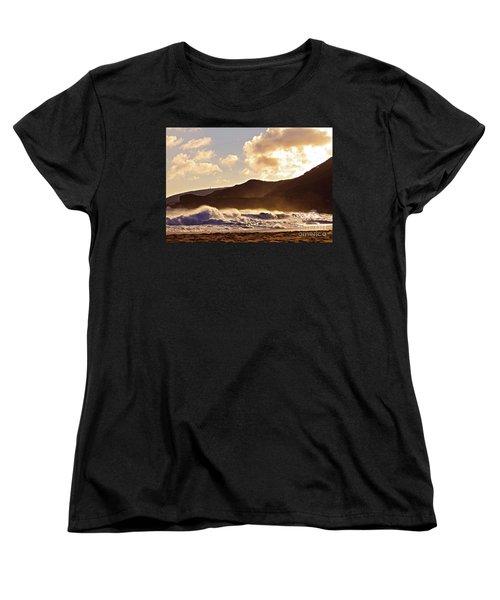 Women's T-Shirt (Standard Cut) featuring the photograph Sunset At Sandy Beach by Kristine Merc
