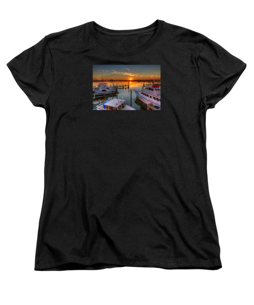 Sunset At The Marina Women's T-Shirt (Standard Cut) by Tim Stanley