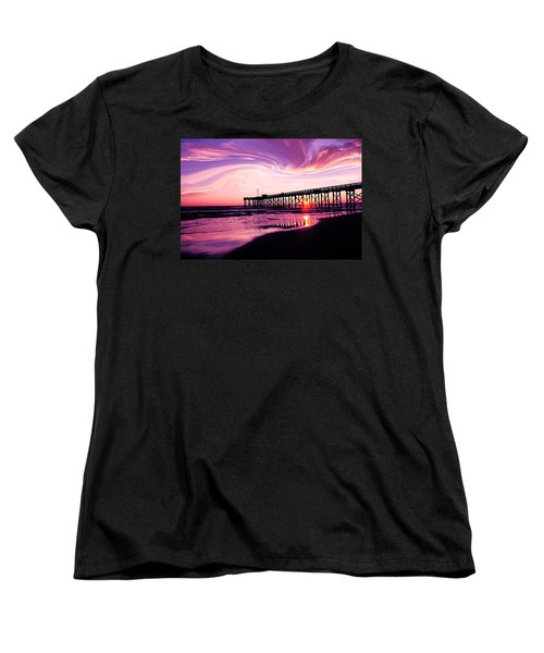 Women's T-Shirt (Standard Cut) featuring the photograph Sunset At The Pier by Eddie Eastwood