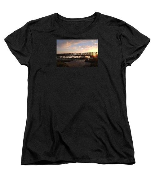 Sunset At The Wooden Bridge Women's T-Shirt (Standard Cut) by Angelo DeVal