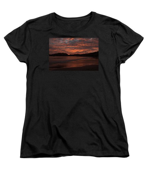 Women's T-Shirt (Standard Cut) featuring the photograph Sunset Beach by Jim Walls PhotoArtist