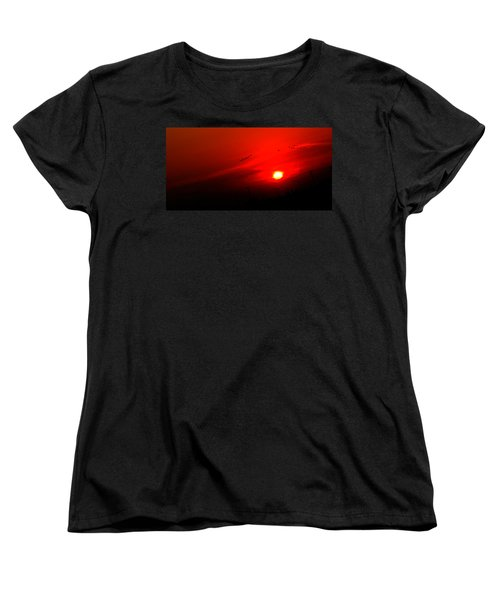 Sunset Geese Leaving Disappearing City - 0814  Women's T-Shirt (Standard Cut) by Michael Bessler