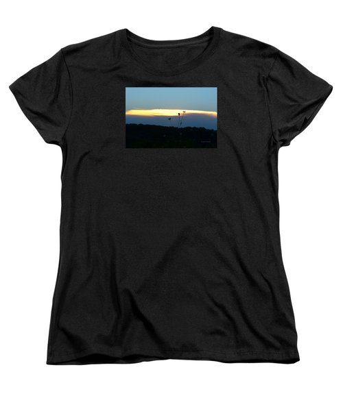 Women's T-Shirt (Standard Cut) featuring the digital art Sunset Gold Stripe Queen Anne by Jana Russon