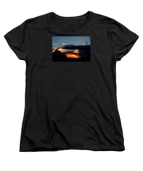 Women's T-Shirt (Standard Cut) featuring the photograph Sunset In Oil Santa Fe New Mexico by Diana Mary Sharpton