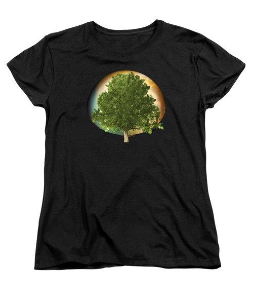 Women's T-Shirt (Standard Cut) featuring the digital art Sunset Oak Tree Cartoon by Linda Phelps