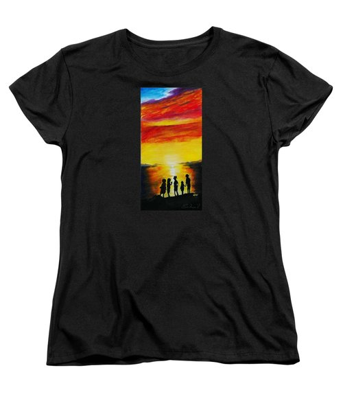 Sunset On The Great Salt Lake Women's T-Shirt (Standard Cut) by Sherril Porter