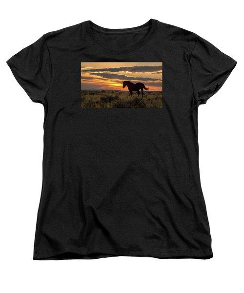 Sunset On The Mustang Women's T-Shirt (Standard Cut) by Jack Bell