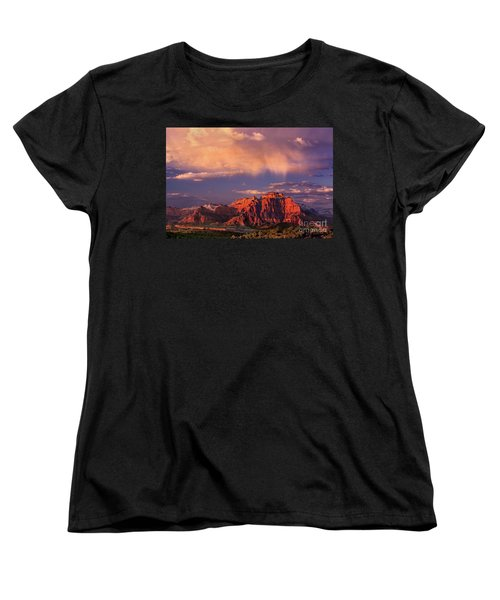 Sunset On West Temple Zion National Park Women's T-Shirt (Standard Cut) by Dave Welling