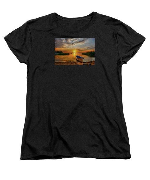 Sunset Over Lake Women's T-Shirt (Standard Cut) by Lilia D