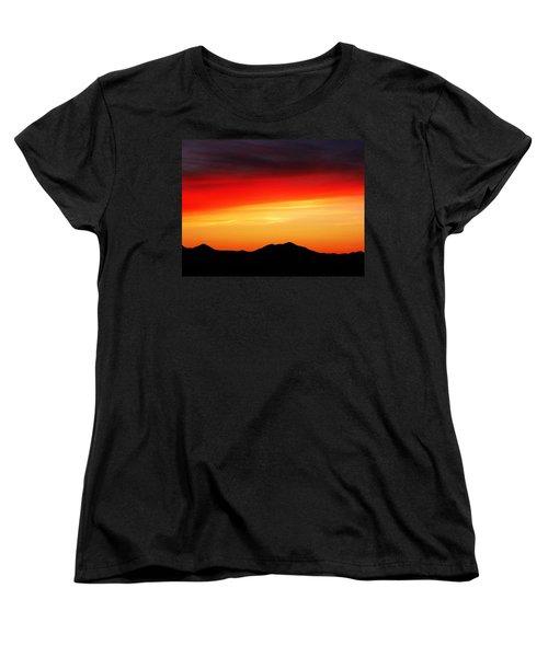 Sunset Over Santa Fe Mountains Women's T-Shirt (Standard Cut) by Joseph Frank Baraba