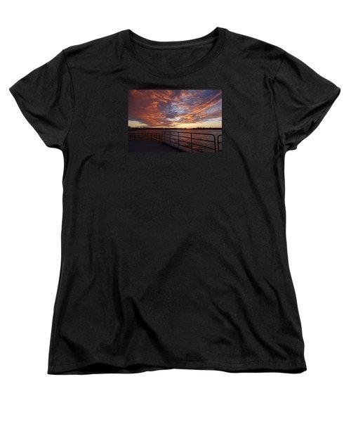 Sunset Over The Manasquan Inlet 2 Women's T-Shirt (Standard Cut) by Melinda Saminski