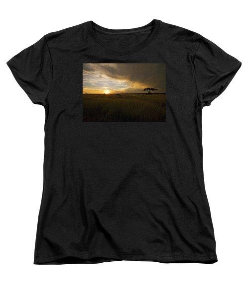 sunset over the Serengeti plains Women's T-Shirt (Standard Cut) by Patrick Kain