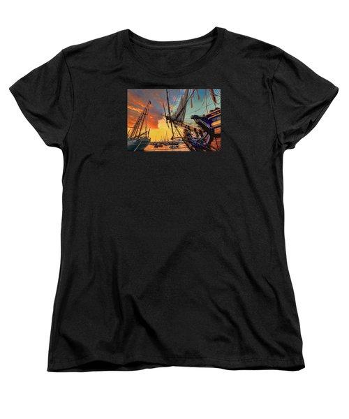Sunset Sail Women's T-Shirt (Standard Cut) by Nadia Sanowar