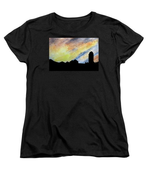 Sunset Silhouetted Farmstead Women's T-Shirt (Standard Cut) by R Kyllo
