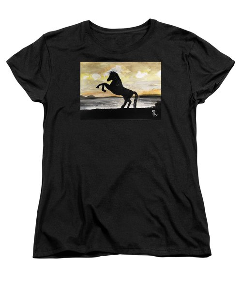 Sunset Stallion Women's T-Shirt (Standard Cut) by Carole Robins