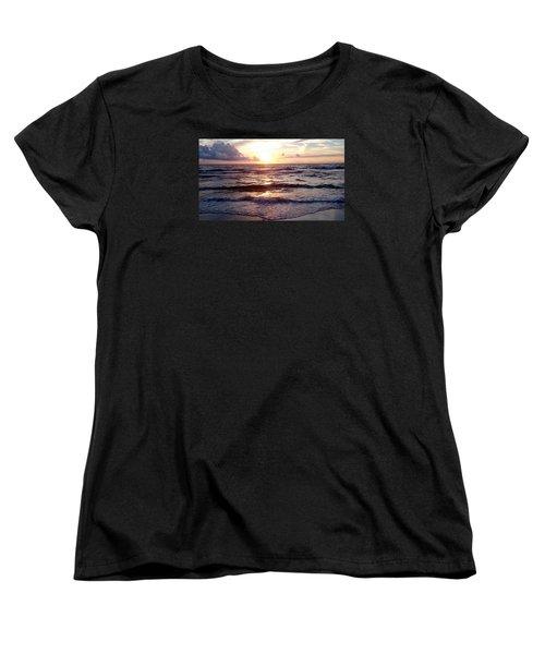 Sunset Waves 1 Women's T-Shirt (Standard Cut) by Vicky Tarcau