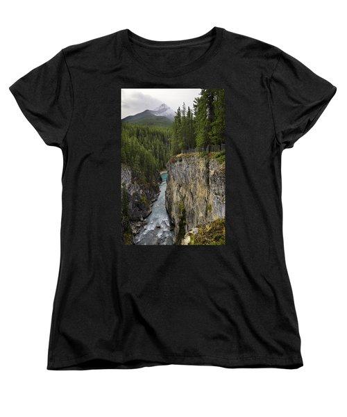 Sunwapta Falls Canyon Women's T-Shirt (Standard Cut) by John Gilbert