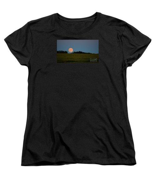 Super Moon Over A Bean Field Women's T-Shirt (Standard Cut) by Mark McReynolds