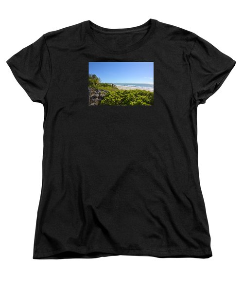 Surfs Up On Casey Key Beach Women's T-Shirt (Standard Cut) by Carol Bradley