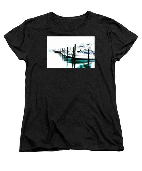 Surreal Fishing Boats In Outer Banks Marina Ap Women's T-Shirt (Standard Cut) by Dan Carmichael