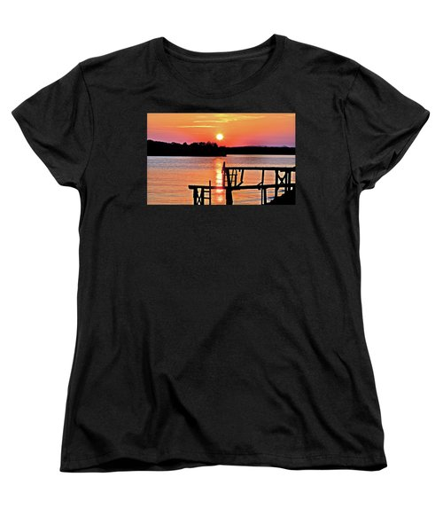 Surreal Smith Mountain Lake Dock Sunset Women's T-Shirt (Standard Cut) by The American Shutterbug Society