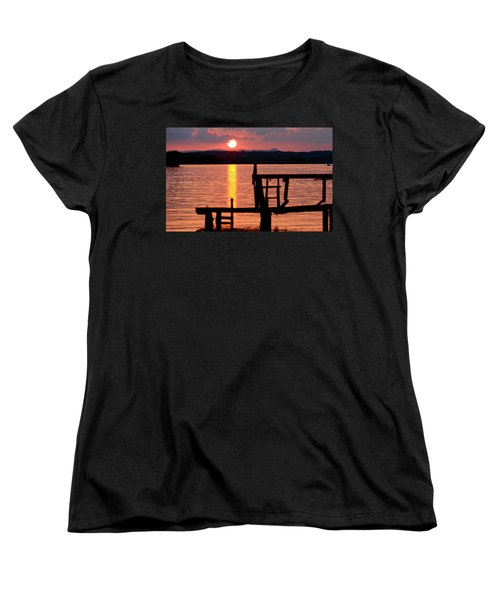 Surreal Smith Mountain Lake Dockside Sunset 2 Women's T-Shirt (Standard Cut) by The American Shutterbug Society
