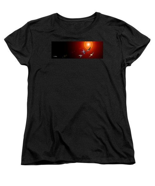 Swallows In Flight Women's T-Shirt (Standard Cut) by George Pedro