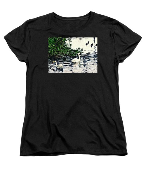 Women's T-Shirt (Standard Cut) featuring the photograph Swan Family On The Rhine 2 by Sarah Loft