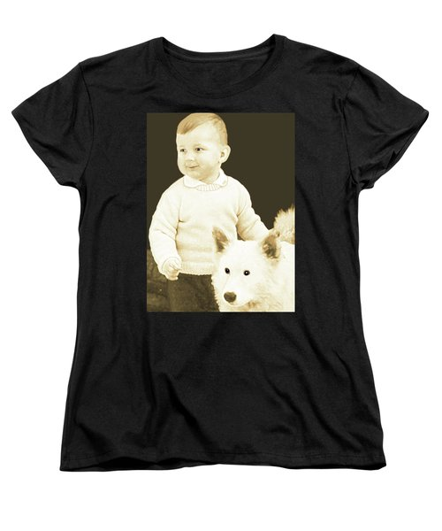 Sweet Vintage Toddler With His White Mutt Women's T-Shirt (Standard Cut) by Marian Cates
