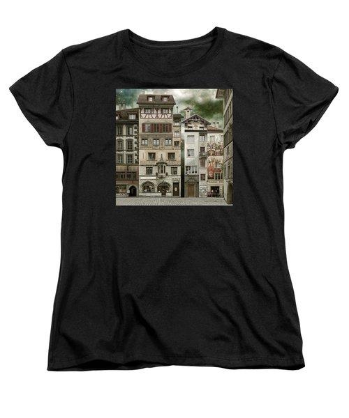 Swiss Reconstruction Women's T-Shirt (Standard Cut) by Joan Ladendorf