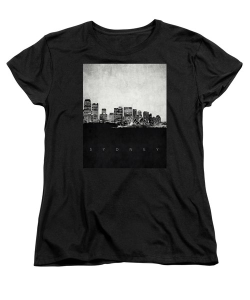 Sydney City Skyline With Opera House Women's T-Shirt (Standard Cut) by World Art Prints And Designs