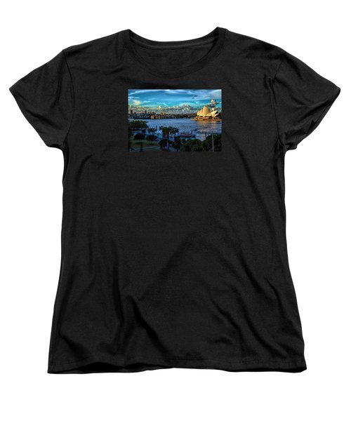 Sydney Harbor And Opera House Women's T-Shirt (Standard Cut) by Diana Mary Sharpton