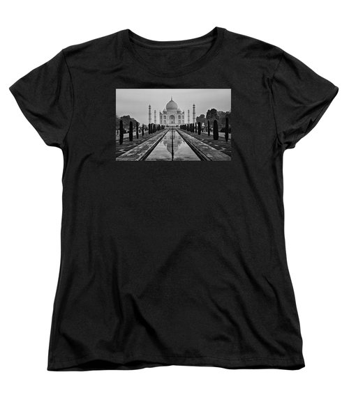 Taj Mahal In Black And White Women's T-Shirt (Standard Cut) by Jacqi Elmslie