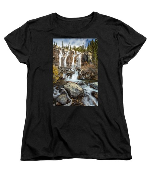Women's T-Shirt (Standard Cut) featuring the photograph Tangle Waterfall On The Icefield Parkway by Pierre Leclerc Photography