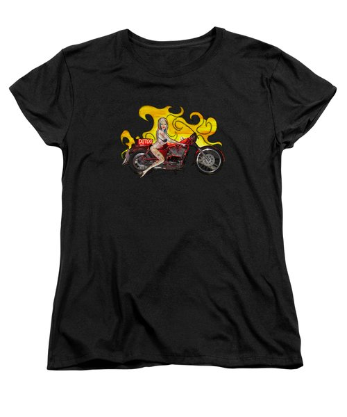 Tattoo Pinup Girl On Her Motorcycle Women's T-Shirt (Standard Cut) by Tom Conway