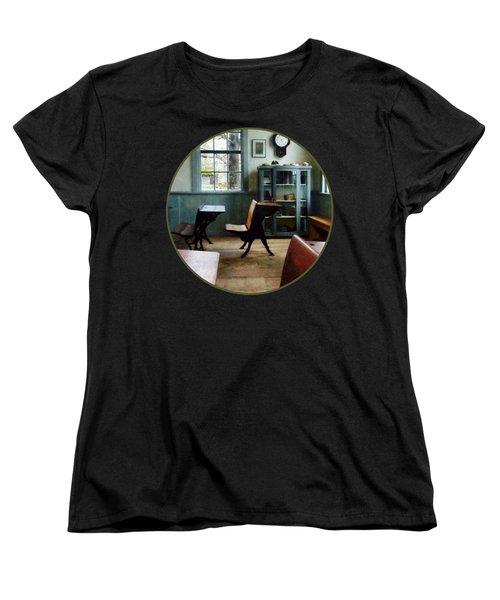 Teacher - One Room Schoolhouse With Clock Women's T-Shirt (Standard Cut) by Susan Savad