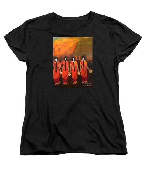 Women's T-Shirt (Standard Cut) featuring the painting Temple Dancers by Brindha Naveen