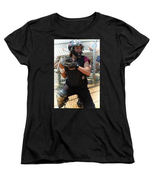 Temple University Bullpen Catcher Women's T-Shirt (Standard Cut) by Mike Martin