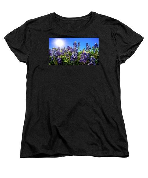 Texas Bluebonnets Backlit II Women's T-Shirt (Standard Cut) by Greg Reed
