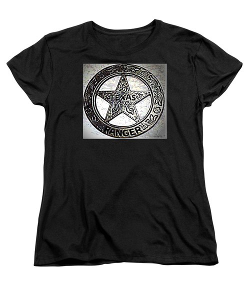 Women's T-Shirt (Standard Cut) featuring the photograph Texas Ranger Badge by George Pedro