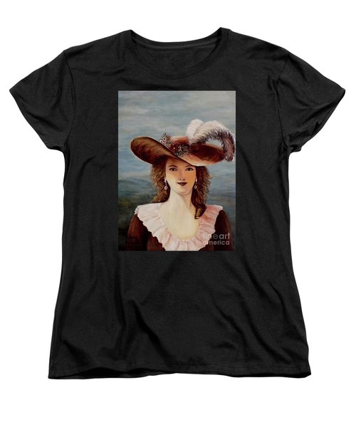 Women's T-Shirt (Standard Cut) featuring the painting That Feather In Her Hat by Judy Kirouac