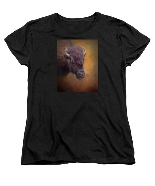 The American Bison II Women's T-Shirt (Standard Cut) by David and Carol Kelly