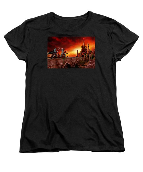 Women's T-Shirt (Standard Cut) featuring the painting The Battle For The Crystal Castle by James Christopher Hill